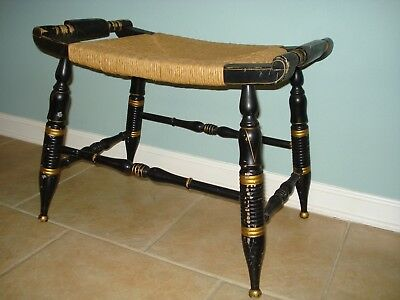 Antique Hitchcock Stool Bench Black & Gold Leaf Painted Chair Cane Seat