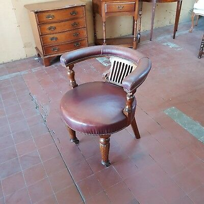 Antique Oak Leather Captains / Gainsborough / Bankers  Desk Chair Super Chair