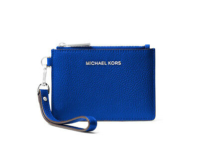 1532174f3b32 Michael Kors Mercer Leather Coin Purse Card Case Wristlet Electric Blue New  NWT
