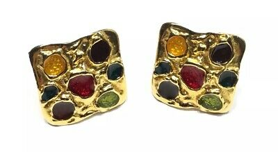 Stunning 80's Gold Tone Multi Colored Enamel Clip On Earrings, Fashion Statement
