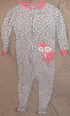 Carters Gray Footed Sleeper With Fox-Skid Proof Bottoms-Size 12 Months-Nwt