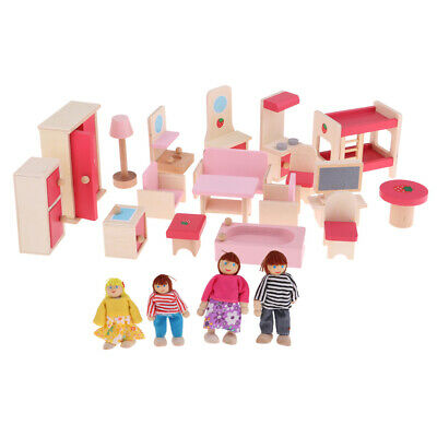 Dollhouse Miniature Wooden Furniture Set Kids Pretend Play Toys with 4 Dolls