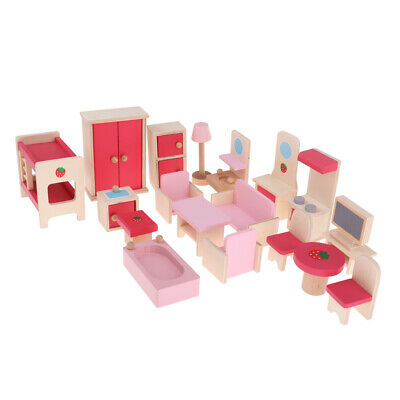 Dollhouse Miniature Wooden Furniture Set Kids Pretend Play Toys