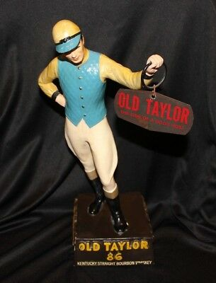 Vintage 1940's Old Taylor 86 Kentucky Whiskey Back Bar Jockey Figure with Sign