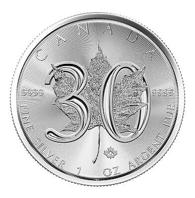 Tube of 25 - 2018 $5 1oz Canadian Silver Maple Leaf 30th Anniversary .9999