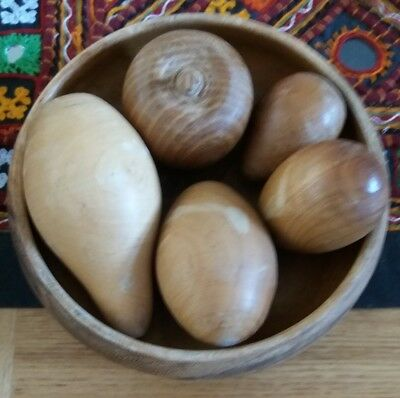 Vintage Treen bowl and fruit