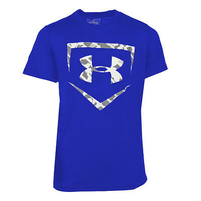 Under Armour Boys' UA Tech Home Plate Short Sleeve T-Shirt Blue/White Camo L