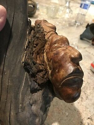 Vintage Carved Burl of an Native American Indian Warrior