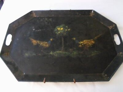 Antique Bird & Fruit Tree Hand Painted Black Toleware Tole Serving Tray Folk Art