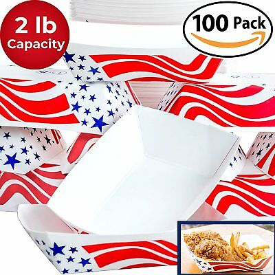 Heavy Duty, Grease Resistant 2 Lb US Flag Paper Food Tray 100 Pack...