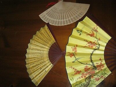 LOT of 3 Folding Hand Held Fan - Various sizes and Styles See pix