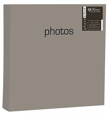 "SILVER PHOTO ALBUM HOLDS 200 4"" x 6"" SLIP IN MEMO WRITING SPACE FAMILY BBZZ"