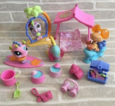 Littlest Pet Shop Tropical Treasures Beach Bundle Pet Accessorises LPS Holiday