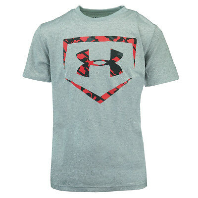 Under Armour Boys' UA Home Plate Short Sleeve T-Shirt True Grey/Red Black Camo M