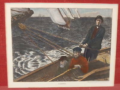 Original Vintage Hand-Colored Yachting Engraving - Munson Gallery,New Haven,Ct.