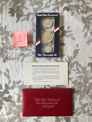 United States Bicentennial Silver Uncirculated Set 1776 - 1976 Three Coins