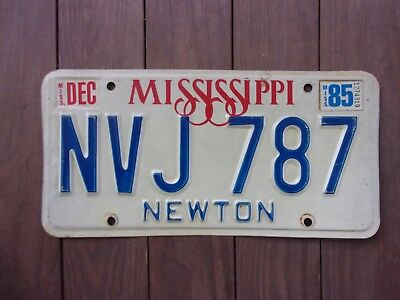 1985 Mississippi Newton County License Plate NVJ 787