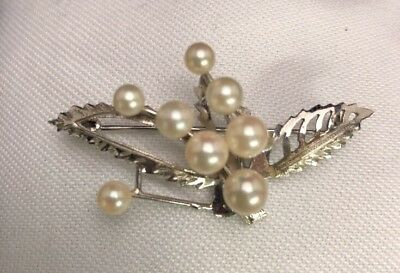 Vintage Sterling Silver Pearl Or Faux Pearl Design Pin Brooch