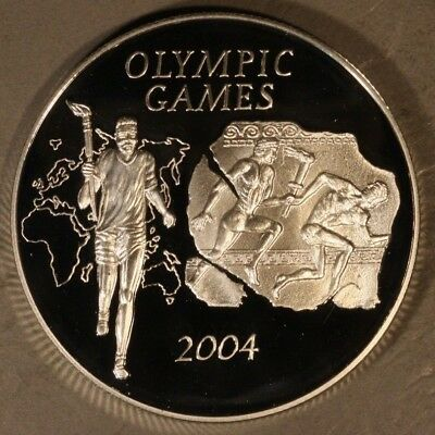 2003 Ghana 500 Sika Olympic Relay Proof Silver         ** FREE U.S. SHIPPING **