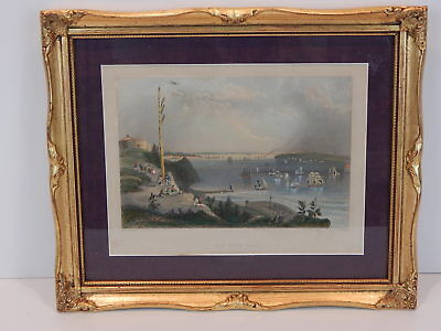 1838 Hand Colored Steel Engraving, New York from Telegraph Hill, W. H. Bartlett