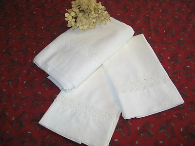 French Country Antique Vintage Flat Sheet-2 Pillow Cases HM Crochet Lace