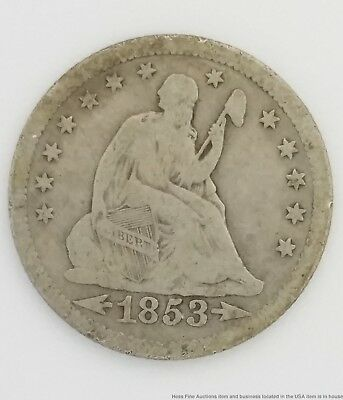1853 O Arrows Rays Seated Liberty Silver Quarter Dollar Coin 25C New Orleans