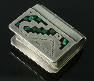 "Vintage Taxco Mexco 925 Pill Snuff Box ""book""  Malachite & Sterling"