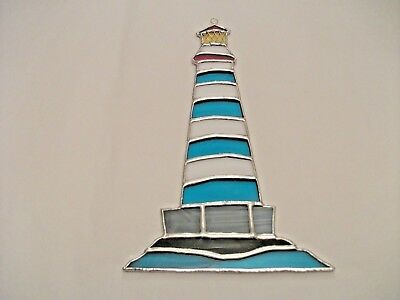 Stained Glass handmade lighthouse on the rocks Sun-catcher / window decoration