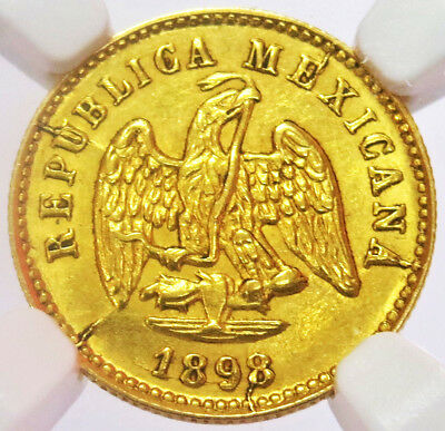 1898 Cn / Mo M Gold Republic Of Mexico 1 Peso Coin Ngc Mint State 62