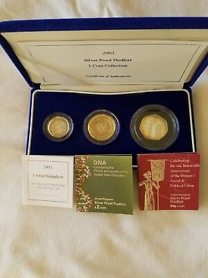 2003 Silver Proof Piedfort 3-coin Collection