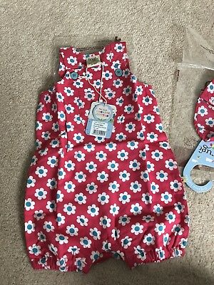 Frugi Girls Dungarees And Matching Hat 3-6m BNWT