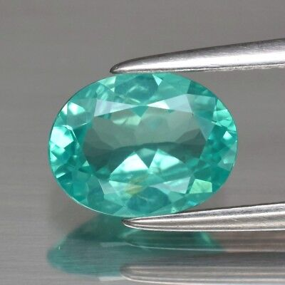 VS 1.13ct 8.2x6.3mm Oval Natural Unheated Paraiba-Color Neon Blue Green Apatite
