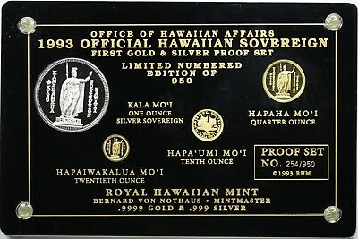 1993 Official Hawaiian Sovereign First Gold & Silver Proof Set #254/950