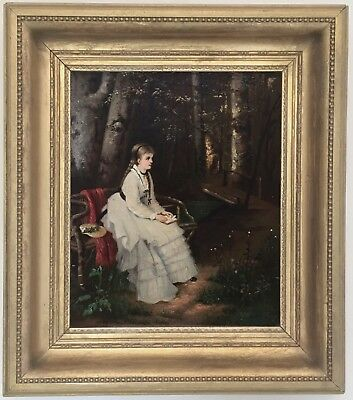 Young Beauty in a Forest Antique Oil Painting 19th Century English School
