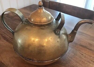Rare Two Handled Antique American Brass Gooseneck Tea/Hit Water Kettle~Primitive