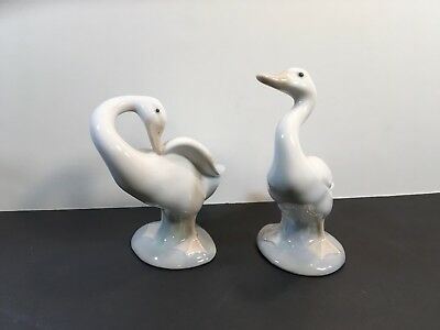 2 retired LLADRO porcelain duck geese goose figurines NICE