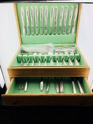 Reed & Barton Sculpture Sterling Silver 16 Sets Place Setting Silverware Antique