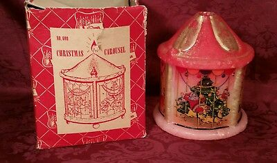 vintage 1950s penn wax works christmas carousel candle with original box