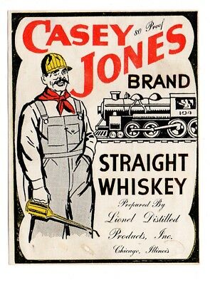 1930s LIONEL DISTILLED PRODUCTS, CHICAGHO, ILLINOIS CASEY JONES WHISKEY LABEL