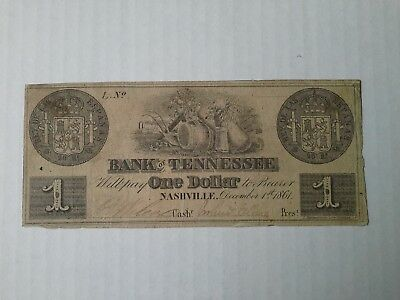 Obsolete Currency, Tennessee One Dollar, 1-12-1861
