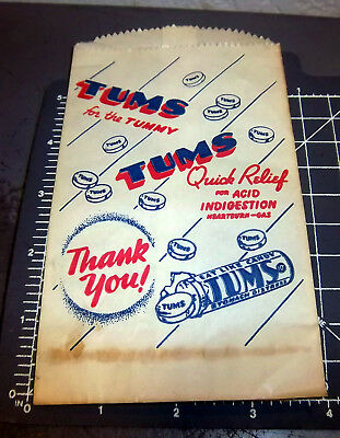Vintage TUMS quick relief advertising paper bag, great graphics & logo, nice!
