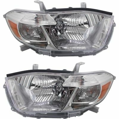 New Set Of 2 Head Lights Fits 2008-2010 Toyota Highlander To2502201 To2503201