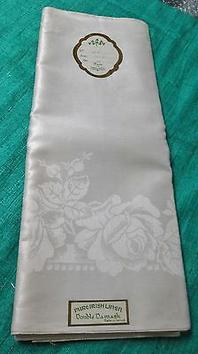 "Antique Irish Linen Damask Tablecloth Cabbage Roses Unused w/ Labels 70"" x 88"""