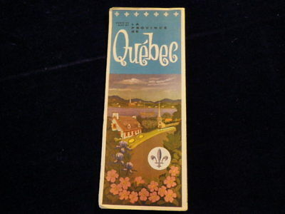 Vintage Official 1950's Quebec Province Canada Highway Road Map