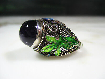 Vtg Chinese Export Filigree Enamel Sterling Silver Purple Amethyst Ring Size 7