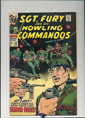 """Sgt. Fury #58, (Sept. 1968, Marvel), """"Right In the Feuhrer's Face"""", [5.5 FN-]"""