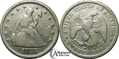 1875-P 20c Twenty Cent Silver Piece KEY DATE rare old type coin VG but cleaned