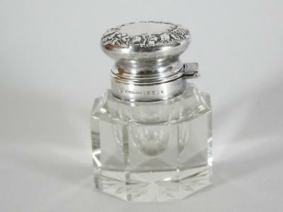Antique American Crystal Inkwell with Sterling Silver Cover