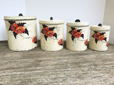 Vintage Set of 4 Hand Painted Floral Canisters Flowers Shabby Chic Chippy 1937