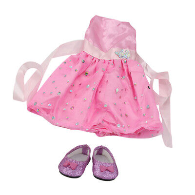 Handmade Sequin Skirt & PU Shoes fits 18inch American Girl Doll Clothes Accs